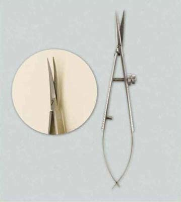 11406-0004 Precision scissors, curved tip, 1pc/blister