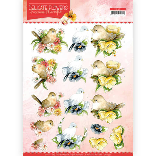 CD11491/HJ18301 3D Cutting sheet- PM - Delicate Flowers - Birds (HJ183)