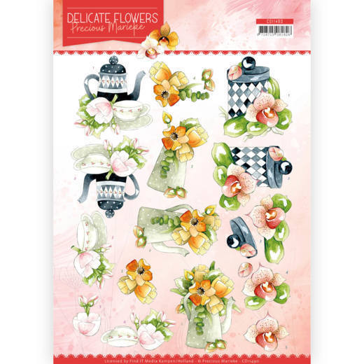 CD11490 3D Cutting sheet - PM - Delicate Flowers - Teapot (HJ183)