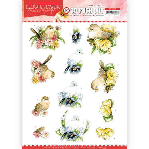 SB10453 3D Push Out - PM - Delicate Flowers - Birds (HJ183)