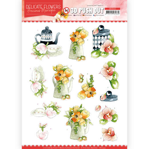 SB10452 3D Push Out - PM - Delicate Flowers - Teapot (HJ183)