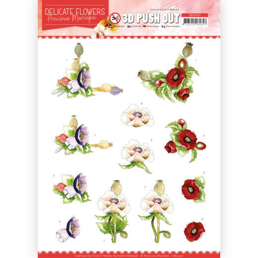 SB10451 3D Push Out - PM - Delicate Flowers - Poppy (HJ183)