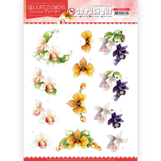 SB10450 3D Push Out - PM - Delicate Flowers - Orchid (HJ183)
