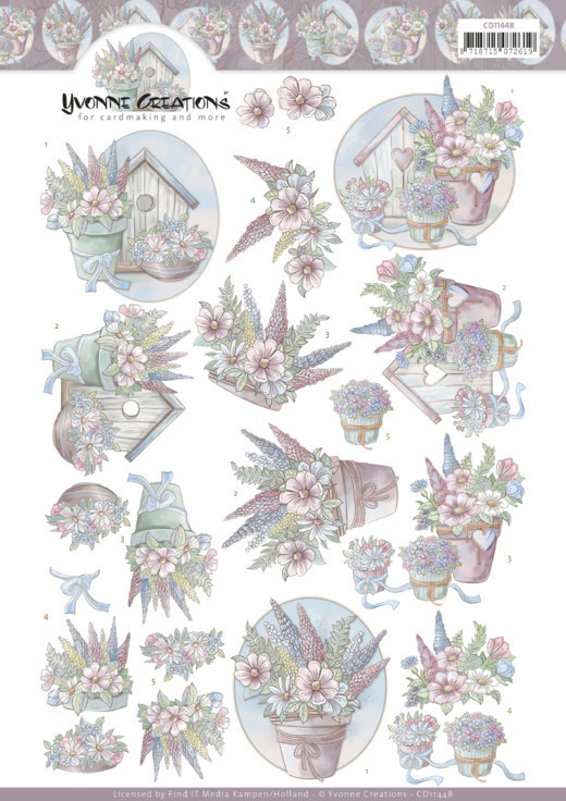 CD11448 3D Cutting Sheet - Yvonne Creations - Flowers in pastel