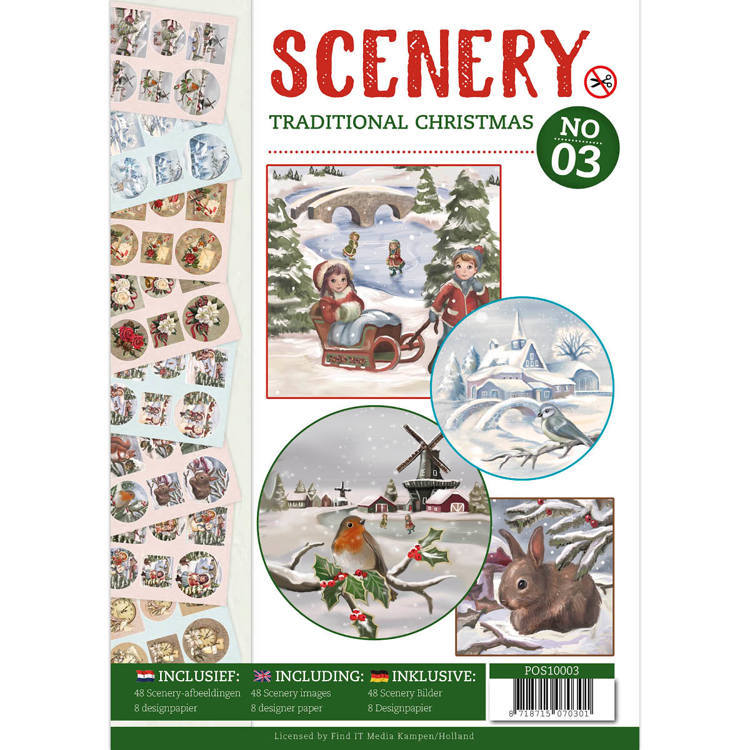 POS10003 Push Out boek Scenery 3 - Traditional Christmas