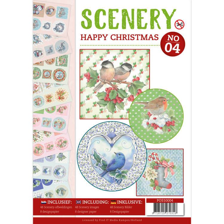 POS10004 Push Out boek Scenery 4 - Happy Christmas