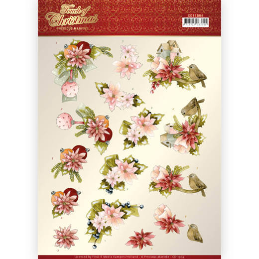 CD11504 3D cutting sheet - Precious Marieke - Touch of Christmas - Pink Flowers (HJ184)