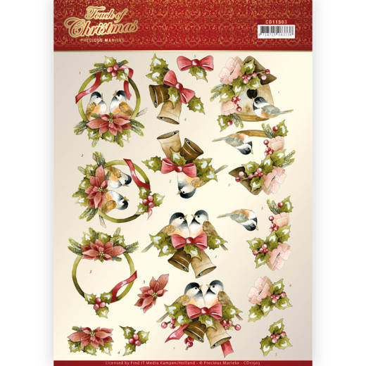 CD11503 3D cutting sheet - Precious Marieke - Touch of Christmas - Birds (HJ184)