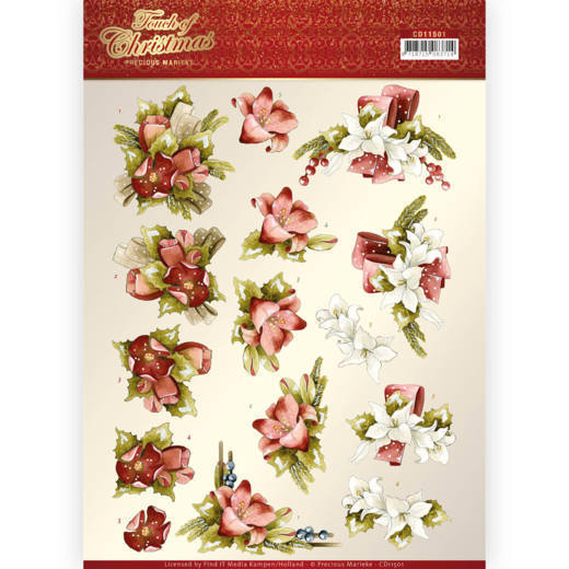 CD11501 3D cutting sheet - Precious Marieke - Touch of Christmas - Red Flowers (HJ184)