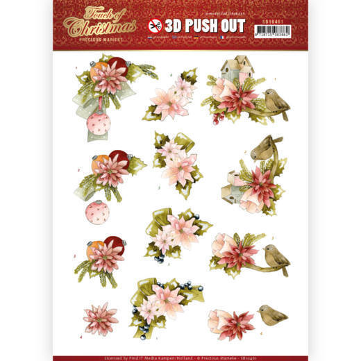 SB10461 3D Push Out - Precious Marieke - Touch of Christmas - Pink Flowers (HJ184)