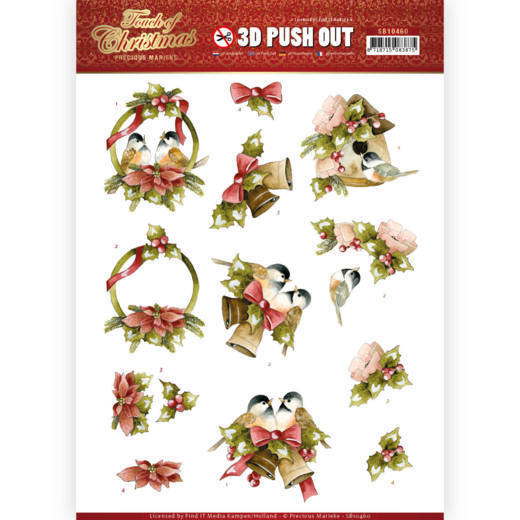 SB10460 3D Push Out - Precious Marieke - Touch of Christmas - Birds (HJ184)