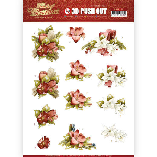 SB10458 3D Push Out - Precious Marieke - Touch of Christmas - Red Flowers (HJ184)