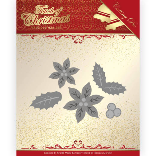 PM10187 Dies - Precious Marieke - Touch of Christmas - Poinsettia (HJ184)