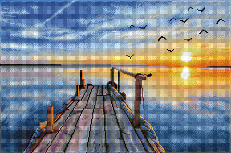 DD12.051 DIAMOND DOTZ® - 71X47cm - Sunset Jetty