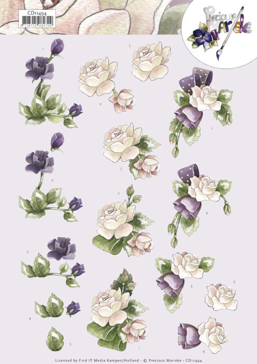 CD11494 3D cutting sheet - Precious Marieke - Purple Flowers