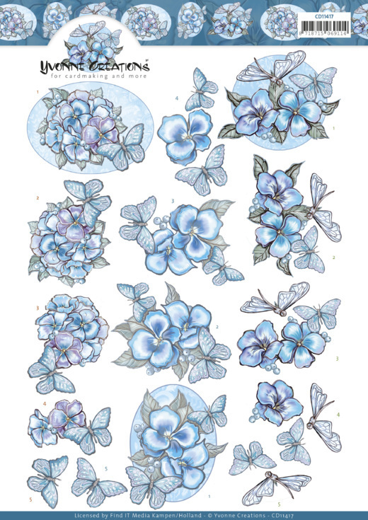CD11417 3D cutting sheet - Yvonne Creations - Blue Butterflies