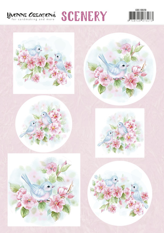CDS10020 Push Out Scenery - Yvonne Creations - Aquarella - Pink Blossom