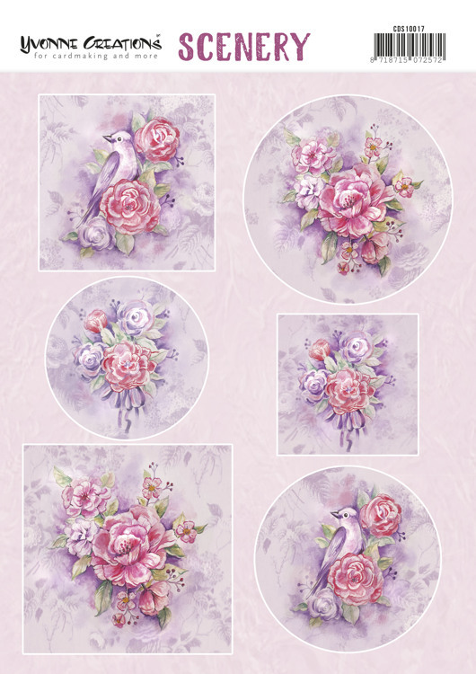 CDS10017 Push Out Scenery - Yvonne Creations - Pink Flowers