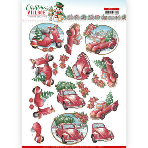 SB10477 3D Push Out - Yvonne Creations - Christmas Village - Christmas Transportation (HJ185)