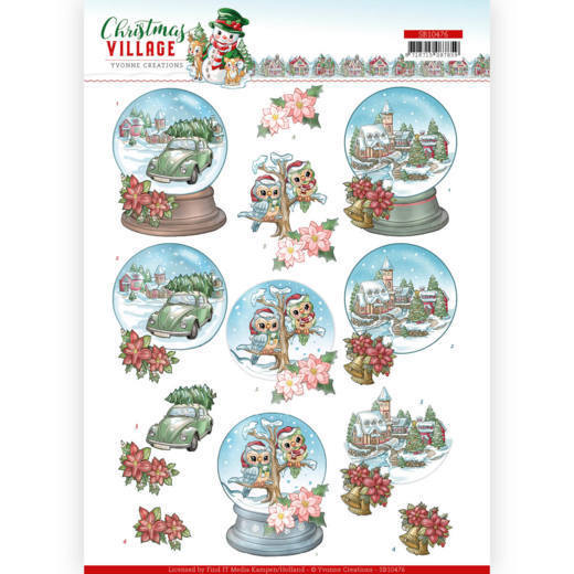 SB10476 3D Push Out - Yvonne Creations - Christmas Village - Christmas Globes (HJ185)