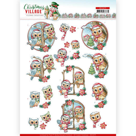 SB10475 3D Push Out - Yvonne Creations - Christmas Village - Christmas Owls (HJ185)