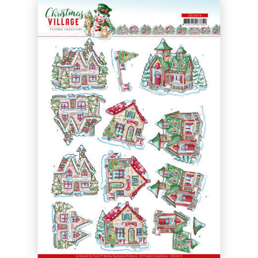 SB10474 3D Push Out - Yvonne Creations - Christmas Village - Christmas Houses (HJ185)