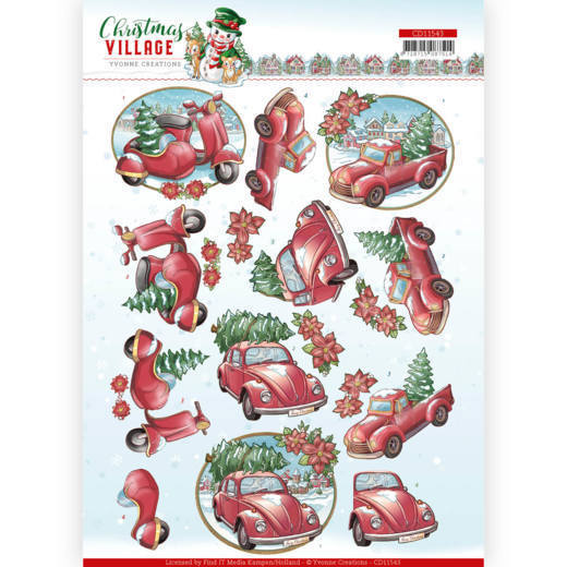 CD11543 3D cutting sheet - Yvonne Creations - Christmas Village - Christmas Transportation (HJ185)