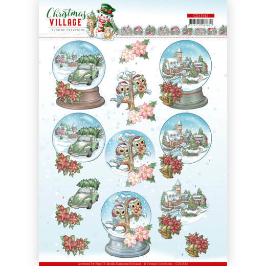 CD11542  3D cutting sheet - Yvonne Creations - Christmas Village - Christmas Globes (HJ185)