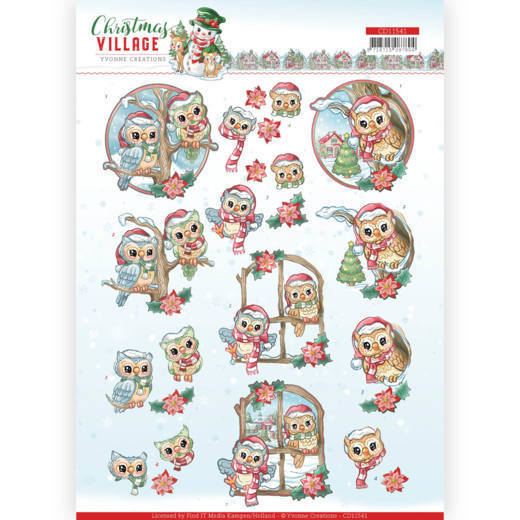 CD11541 3D cutting sheet - Yvonne Creations - Christmas Village - Christmas Owls (HJ185)