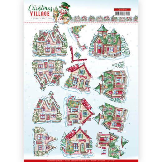 CD11540 3D cutting sheet - Yvonne Creations - Christmas Village - Christmas Houses (HJ185)