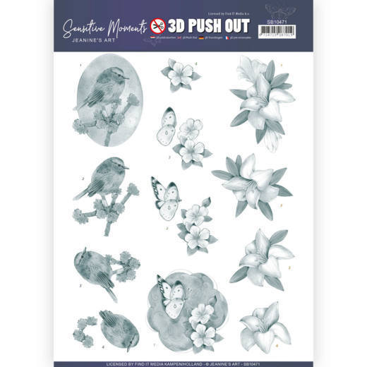 SB10471 3D Push Out - Jeanine's Art - Sensitive Moments - Grey Lily