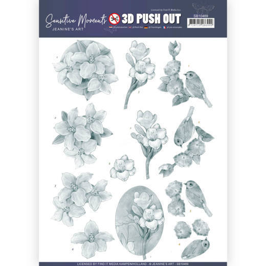 SB104693D Push Out - Jeanine's Art - Sensitive Moments - Grey Freesias