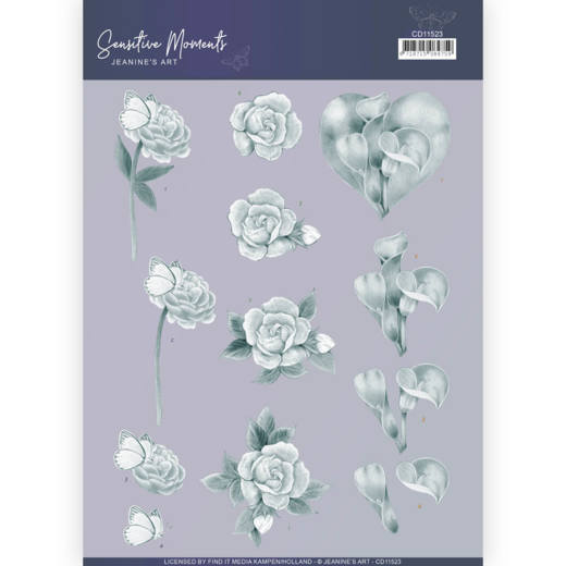 CD11523 3D Cutting Sheet - Jeanine's Art - Sensitive Moments - Grey Calla Lily