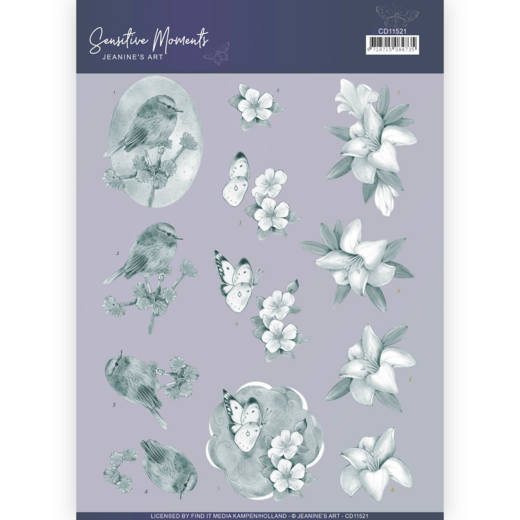 CD11521 3D Cutting Sheet - Jeanine's Art - Sensitive Moments - Grey Lily