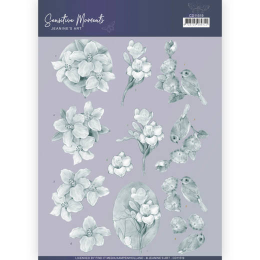 CD11519 3D Cutting Sheet - Jeanine's Art - Sensitive Moments - Grey Freesias
