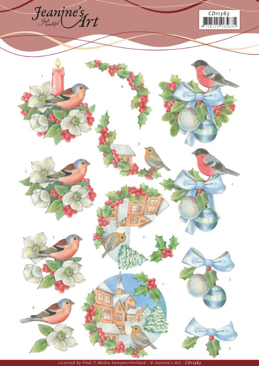CD11363 3D Cutting Sheet - Jeanine's Art - Christmas Birds