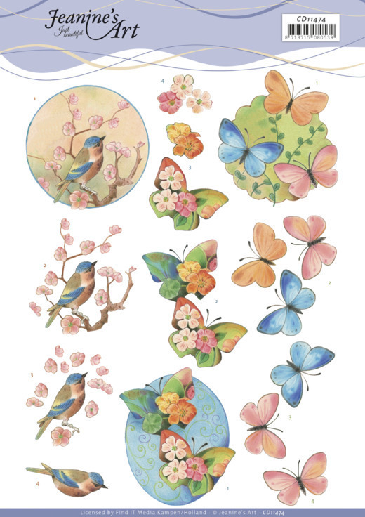 CD11474 3D Cutting Sheet - Jeanine's Art - Birds and Blossom