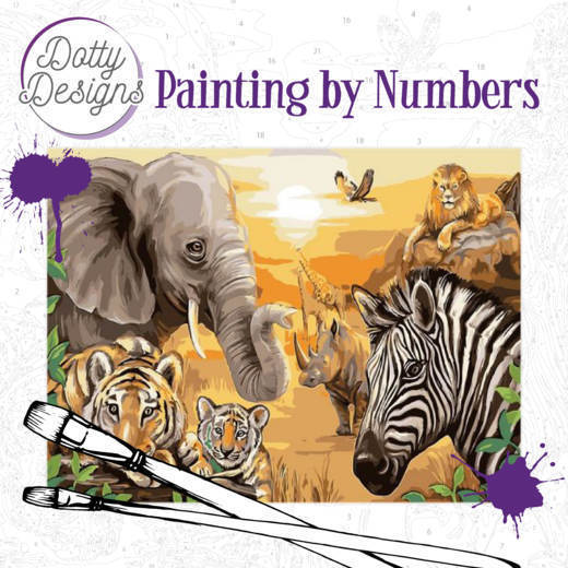 DDP1001 Dotty Design Painting by Numbers - Safari