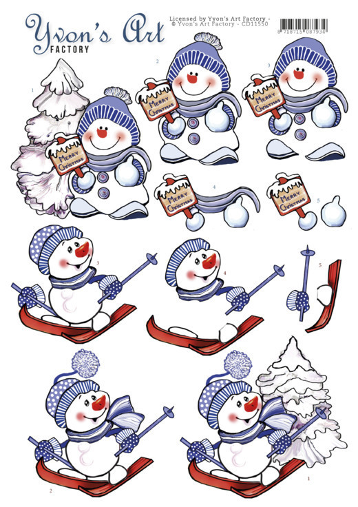 CD11550 3D Cutting Sheet - Yvon's Art - Snowmen