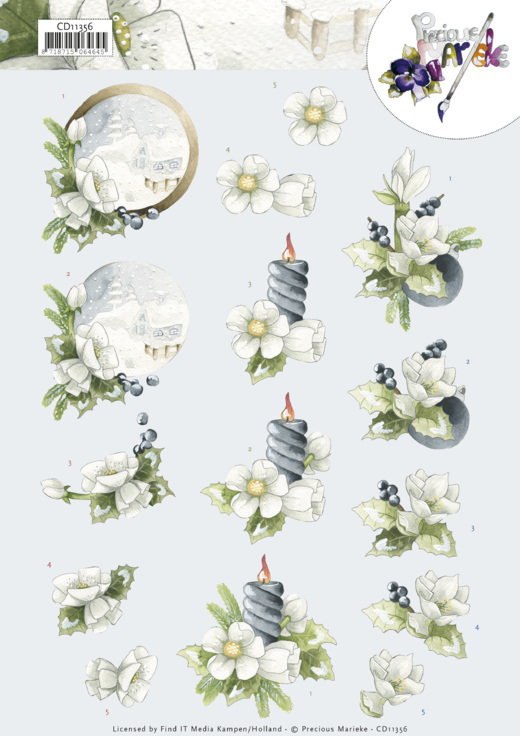 CD11356 3D Cutting Sheet - Precious Marieke - Amaryllis and Blueberries
