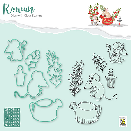 RDCS006 Rowan Dies&clear stamp sets Christmas animals mouse-2 Coffee-pot
