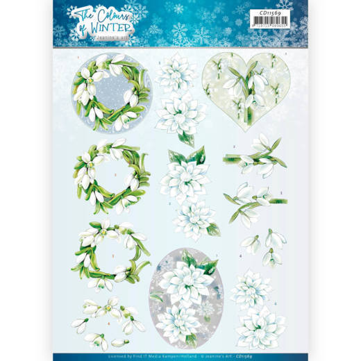CD11569 3D Cutting Sheet - Jeanine's Art - The colours of winter - White winter flowers