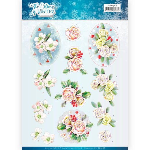 CD11568 3D Cutting Sheet - Jeanine's Art - The colours of winter - Pink winter flowers
