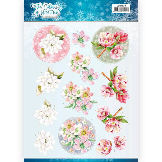 CD11567 3D Cutting Sheet - Jeanine's Art - The colours of winter - Red winter flowers