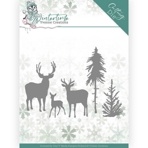 YCD10217 Dies - Yvonne Creations - Winter Time - Deer in the Forest (HJ188)