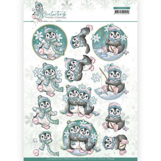 CD11574 3D cutting sheet - Yvonne Creations - Winter Time - Penguin (HJ188)