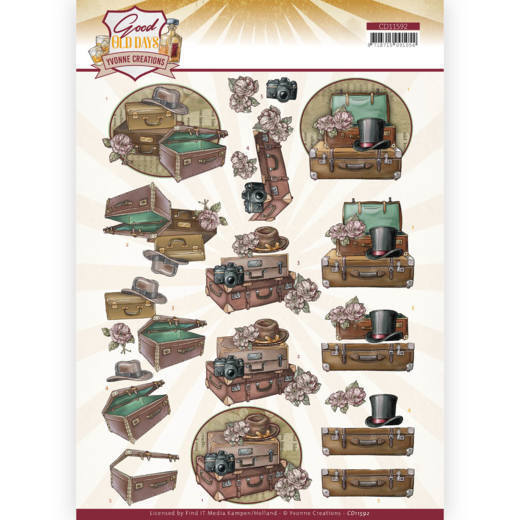 CD11592 3D cutting sheet - Yvonne Creations - Good old day's - Suitcase