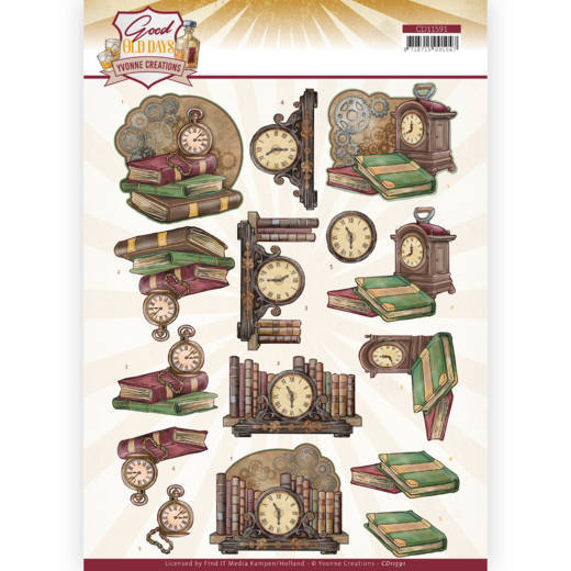 CD11591 3D cutting sheet - Yvonne Creations - Good old day's - Clock