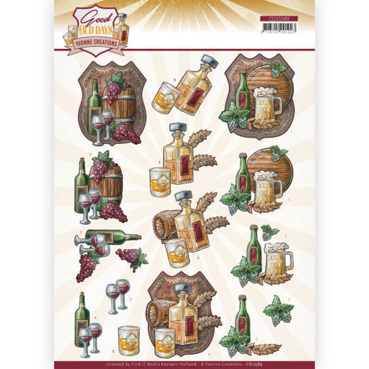 CD11589 3D cutting sheet - Yvonne Creations - Good old day's - Whiskey