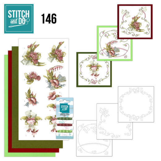 STDO146 Stitch and Do 146 - Precious Marieke - Pretty Flowers - Red Flowers